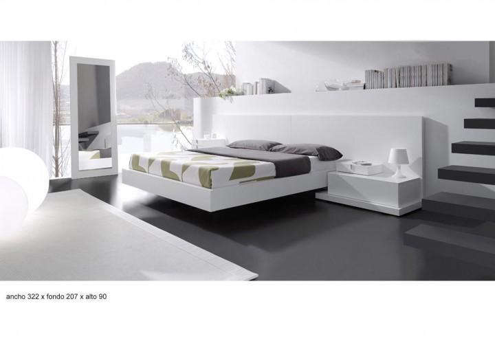 Dormitorio matrimonio lacado en blanco.