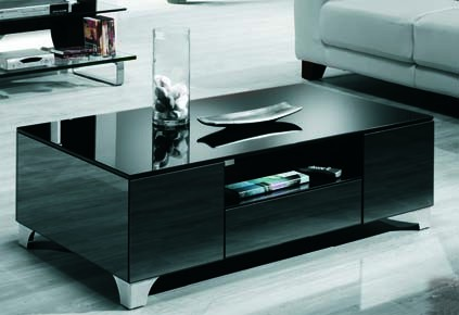 Mesa de centro cristal negro