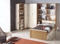 Dormitorio pino macizo con armario de rincón.